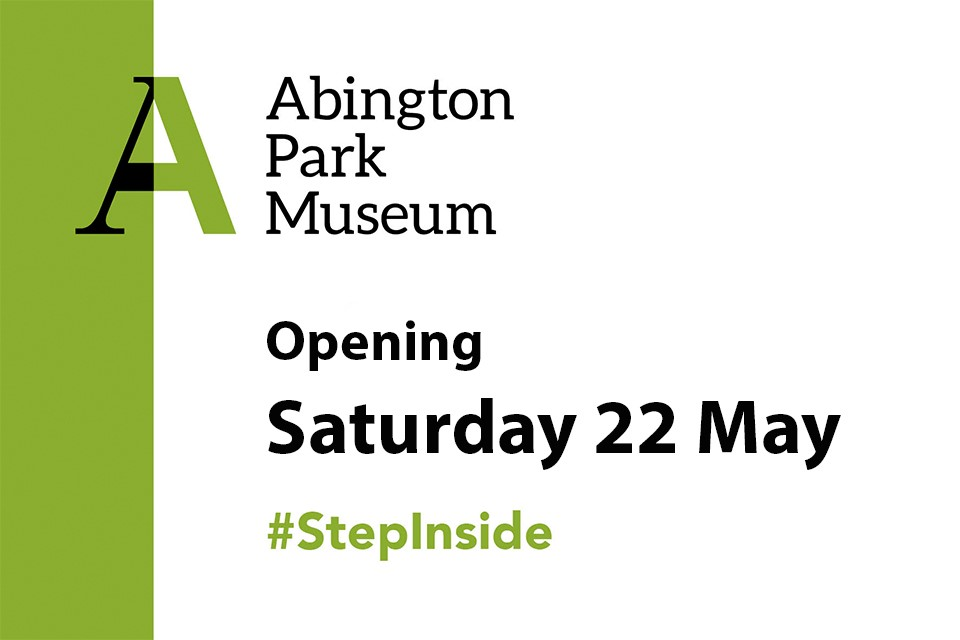 Graphic image with green stripe to left and large A logo for Abington Park Museum top left. Text to right.