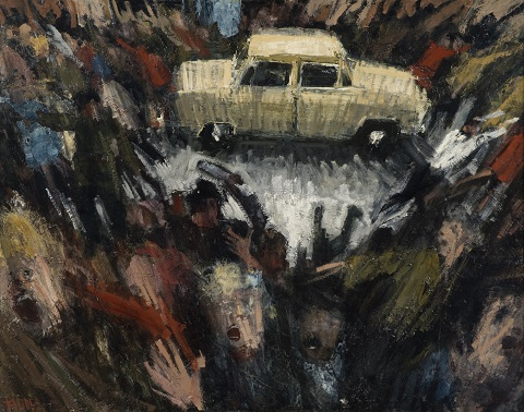 A painting showing a white car holding a bomb which has just been detonated and people around running and screaming in response to the explosion