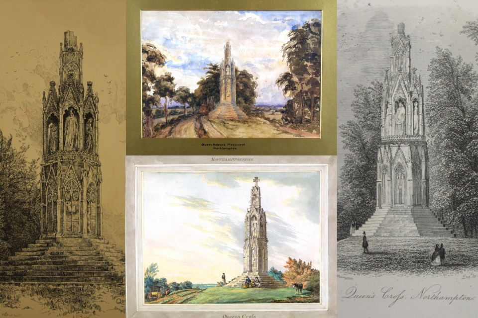 4 depictions of the Northampton Eleanor Cross