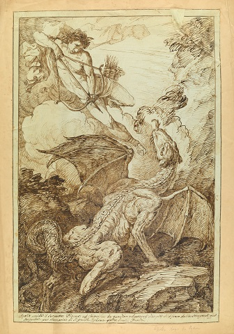 A drawing showing Apollo slaying the Python by Bartholomeo Pinelli
