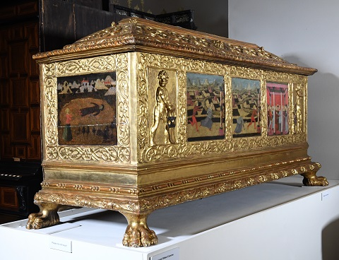 carved and gilded cassone or marriage chest