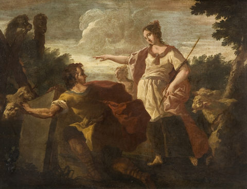 An oil painting by Castiglione showing Jacob and Rachel